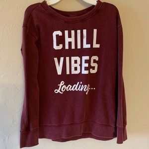 Justice Chill Vibes Loading Maroon Sweatshirt